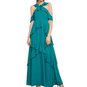 Audrianna Georgette Ruffled Halter Sleeveless Gown